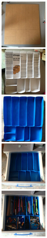 1. Lade meten, snijden uit een stuk karton en vakjes op tekenen 2. Vakjes maken uit papier 3. Vakjes bekleden met inpakpapier 4. In lade passen 5. Vullen