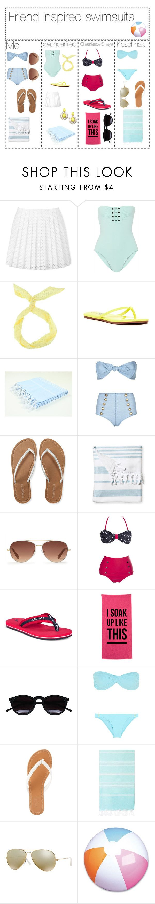 """Friend inspired swim suits"" by nutella-pig on Polyvore featuring McQ by Alexander McQueen, Proenza Schouler, Yosi Samra, Lisa Marie Fernandez, Aéropostale, Serena & Lily, Stella & Dot, Nautica, Chicnova Fashion and Melissa Odabash"