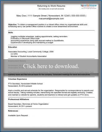 Returning to Work Resume template me Pinterest Cv format - cv writing samples