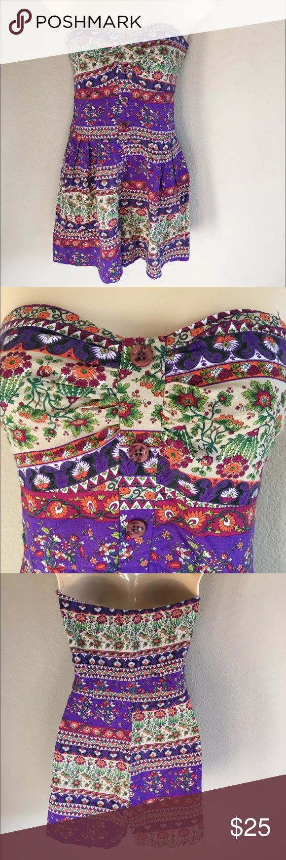 """Modcloth Boho Chic Hippie Floral Printed Romper This romper is in great condition. It is a romper from the brand Audrey 3+1 , which is a Modcloth brand. The bottom of the zipper had to be restitched, but it is not noticeable and does not interfere with zipper function. The size tag is missing but it is most likely a small or a size 2 or 4 as that is my usual size. Please read measurements to ensure fit: pit to pit 13.5"""", waist 26, length 22"""" audrey 3+1 Dresses"""