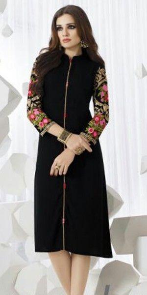 Beautiful Black Rayon Kurti.