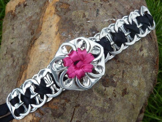 Soda Tab Flower Bracelet, Can Ring Pull Flower , Black and Pink soda tab flower bracelet