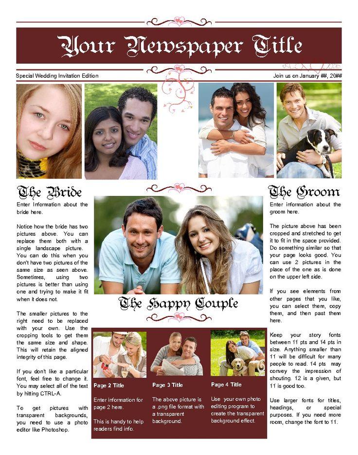 35 best wedding  u0026 engagement newspaper templates images on