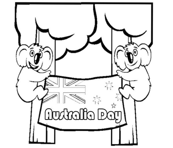 find this pin and more on australia day koala with australia flag happy australia day coloring pages