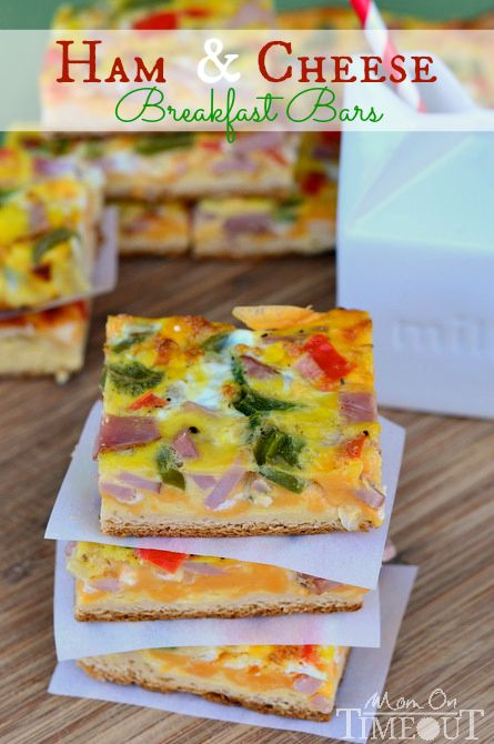 Ham and Cheese Breakfast Bars are loaded with veggies, ham and cheese and baked on a crescent roll crust!  Serve with a cold glass of milk for the perfect breakfast or brunch! | MomOnTimeout.com #sponsored: Cold Glasses, Cheese Breakfast, S'More Bar, S'Mores Bar, Rolls Crusts, Hams And Cheese, Breakfast Bar, Breakfast Recipe, Crescents Rolls