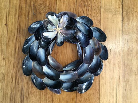 Small Mussel Shell Wreath by DesignsByD913 on Etsy