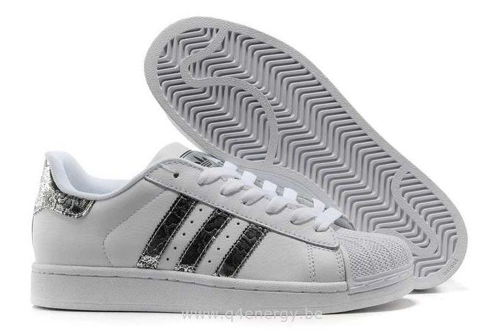 Hommes Adidas Chaussures Superstar II PublicitéS Blanc De Serpent D'argent