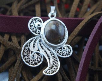 Jasper Pendant-Silver Filigree pendant-999 Silver Filigree pendant-Handmade Silver Pendant-Silver Pendant-Filigree Pendant