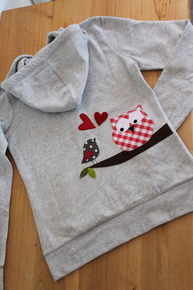 """Hoodies - Damen-Kapuzensweatshirt"""" Karo-Eule"""" 1x in M - ein Designerstück von milla-louise bei DaWanda"""