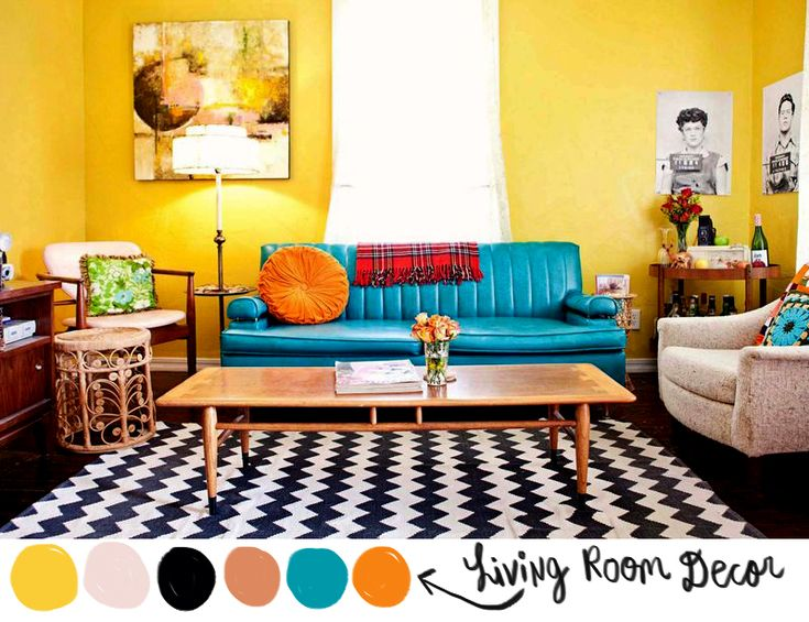 Love the vibrancy of this room its hard to find rooms that arent painted white or a pale color for Turquoise and mustard living room