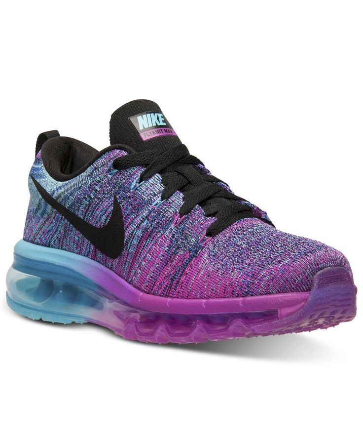 Women's Nike Flyknit Air Max Running Shoes in Fuchsia Flash/Black/Clearwater  - April