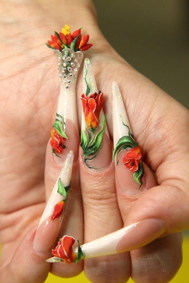 """This set is so pretty. I love the """"flower vase"""" So unique and different from any nail art I have ever seen."""