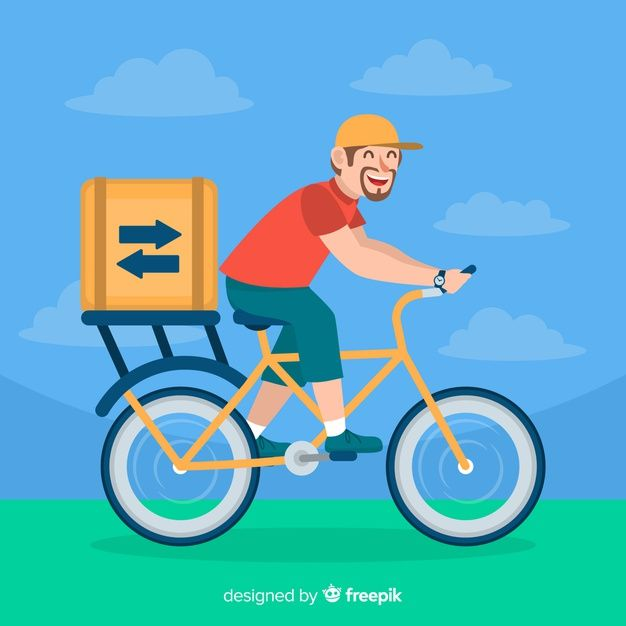 Download Flat Delivery Boy On Bike Background For Free Bike
