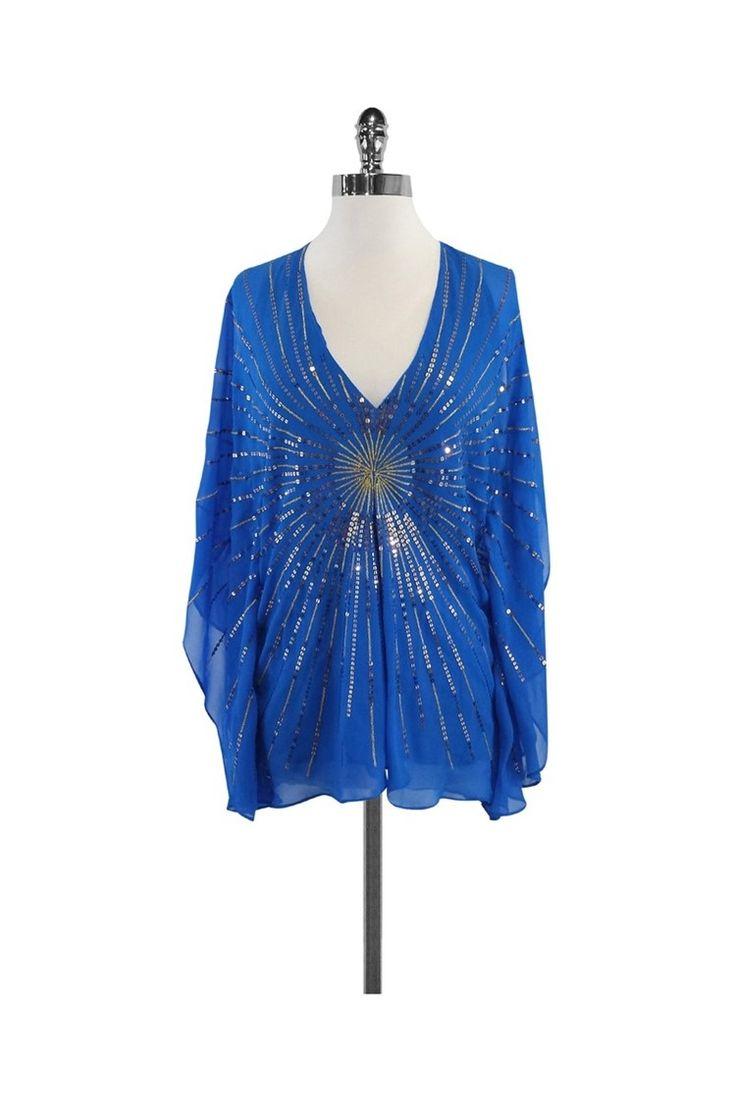 BCBG- Blue Sequin Silk Batwing Top Sz S | Current Boutique