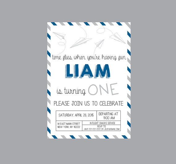 Paper Airplane Birthday Party Invitation Paper by CrowningDetails