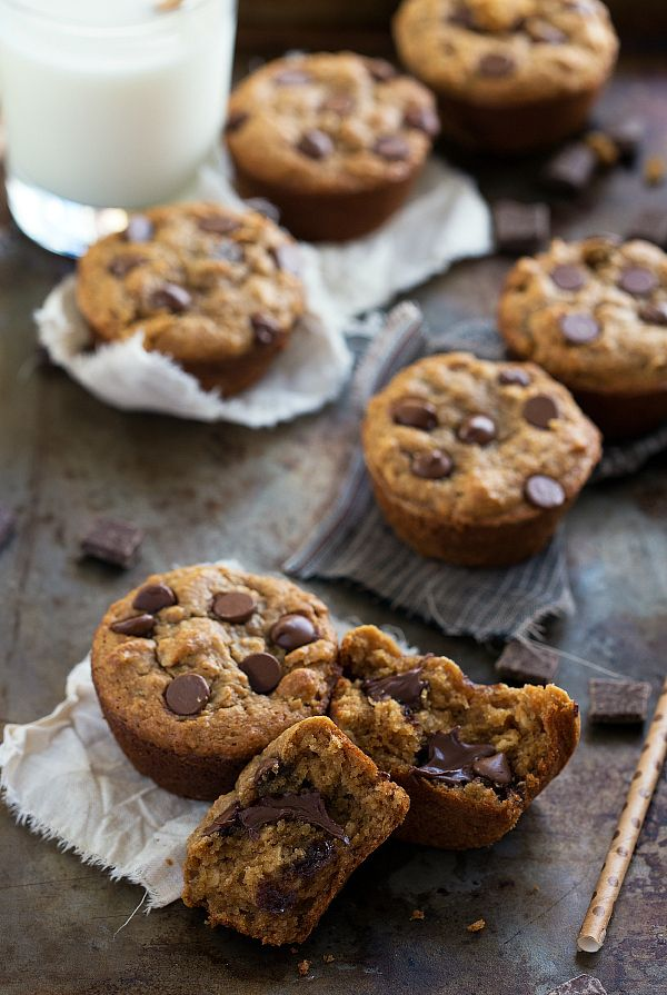 Skinny Peanut Butter, Chocolate, & Banana Muffins - NO butter, oil, flour, or white sugar!