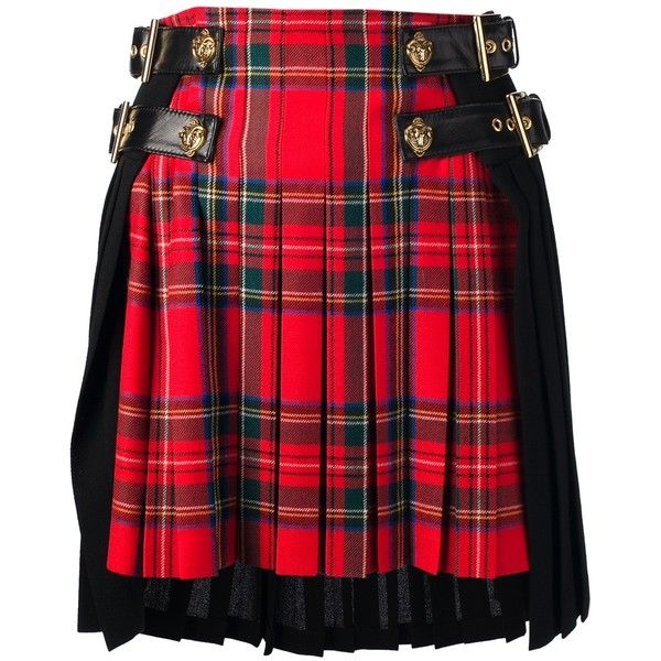 FAUSTO PUGLISI tartan kilt (20.341.755 VND) ❤ liked on Polyvore featuring skirts, bottoms, high waist skirt, high waisted pleated skirt, wool plaid skirt, tartan skirts and red tartan skirt
