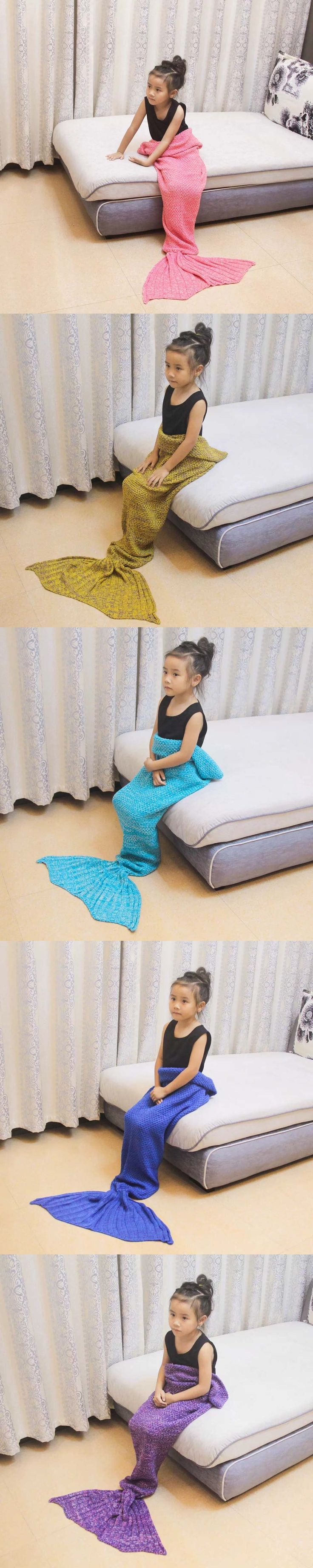 Summitkids Yarn Knitted Mermaid Tail Blanket Super Soft Sleeping Bed Handmade Crochet Anti-Pilling Portable Mermaid Blankets