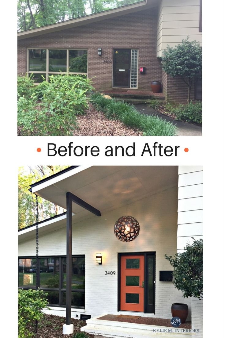 Before and after mid century modern entryway with exterior painted brick in Ballet White, orange front door and Willow trim colour by Benjamin Moore. Kylie M E-design and ONline color consulting