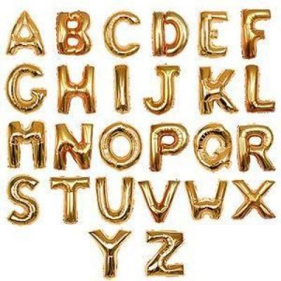 16インチアルファベット メタリックバルーン 金色 (全長41cm) - 豊充風船商店