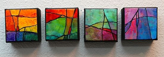Small Wonders 1-4 by Carol Nelson mixed media ~ 3 inches x 3 inches