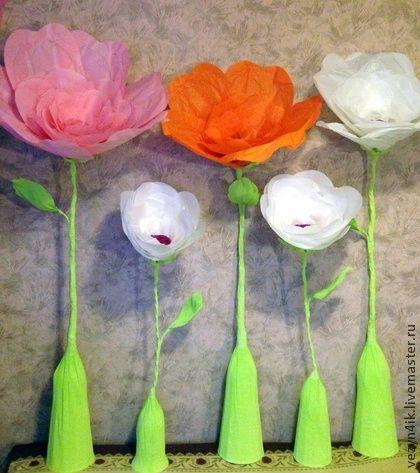 Свадебные цветы ручной работы. Ярмарка Мастеров - ручная работа Цветы бумажные большие стоящие на полу. Handmade.
