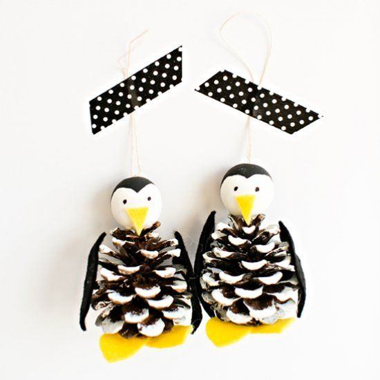 Make this cute and easy pine cone penguin ornament craft.