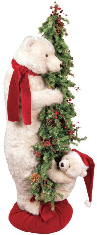 Christmas Tree Baby and Mama Santa Polar Bear