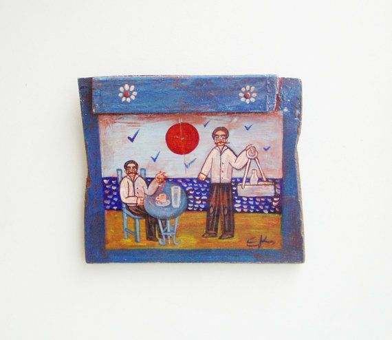 Sea side cafe folk painting folk art on by ArktosCollectibles, $61.20