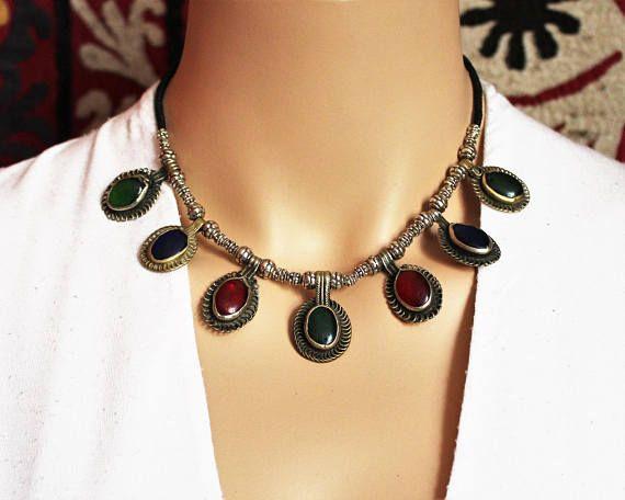 Tribal Halskette mit vintage Schmuckelementen II Bauchtanz