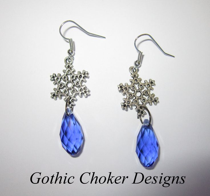 "Inspired by the movie ""Frozen"", Snowflake and blue glass crystal earrings. R60 approx $6.  Purchase here:https://hellopretty.co.za/gothic-choker-designs/frozen-inspired-earrings"