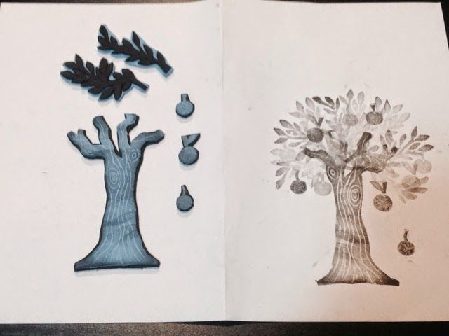 ENFILEM L'AGULLA: Estampem - l'arbre i les pomes