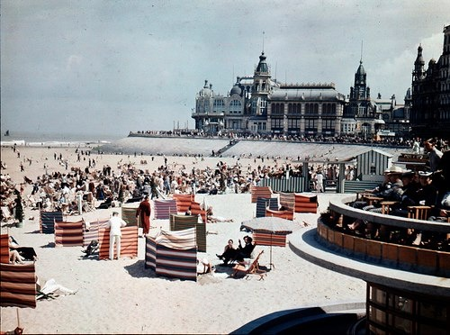 Belgium, Ostend beach (1936), with the Casino Kursaal which would be bombarded in WWII (1940-1945).