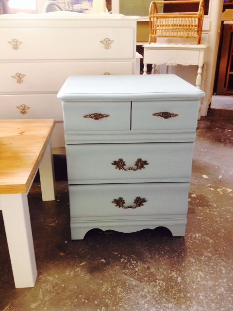 Lovely Bedside Table / Side Table  duck egg blue, ornate hardware, solid, excellent condition  54cm w x 47cm d x 67cm high  $85  Pick up Allambie with delivery available at a reasonable rate