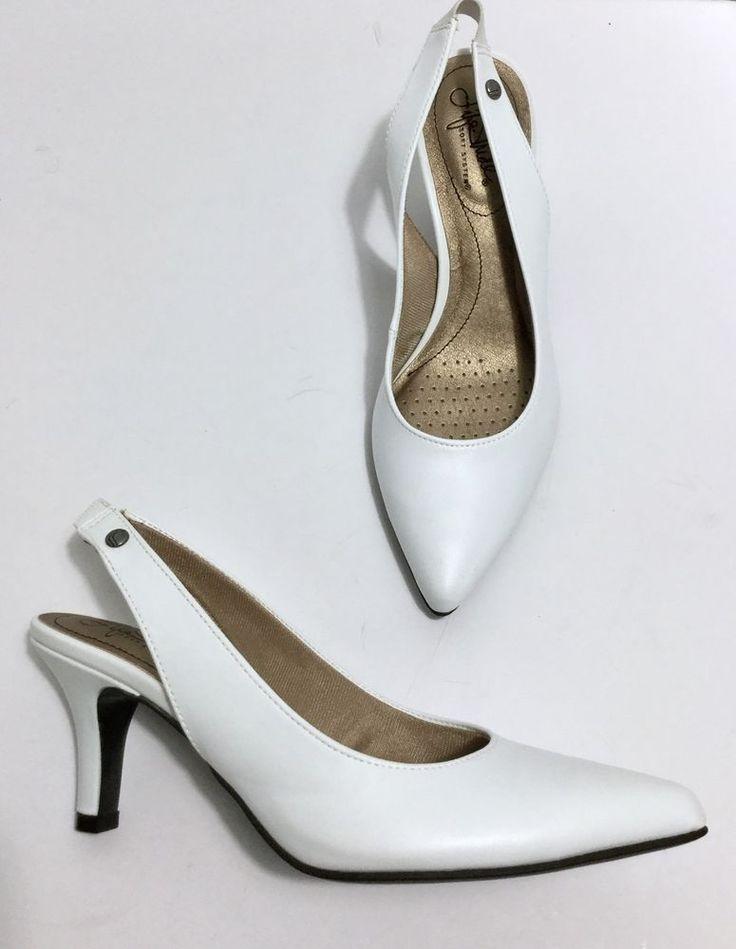 NEW ~ 7 M $60 LifeStride Shena Elegant White Faux Leather Slingback Pump Shoe #LifeStride #Slingbacks #Formal