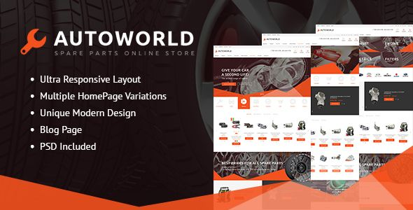 Autoworld - Spare Parts Responsive Prestashop Theme . Autoworld is meant for stores of spare parts, electronics, tools or any merchandise due to its highly customizable design. This fully-fledged PrestaShop theme is integrated with multiple modules to optimize the shopping experience at your e-store. Social login makes the authorization procedure
