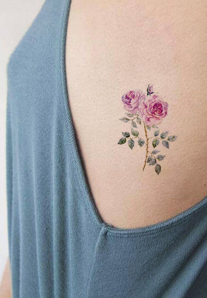 Traditional Pink Rose Rib Tattoo Ideas For Women Watercolor