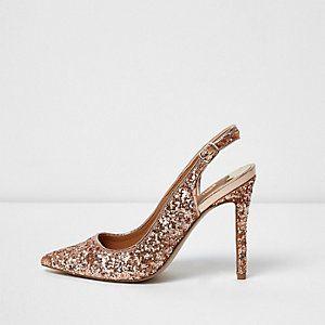 Gold glitter slingback court shoes