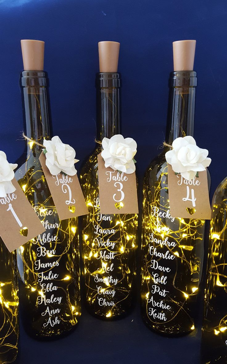 Wedding Table Plan, Bottle Table Plan Light, Wedding Table Numbers, Centerpiece