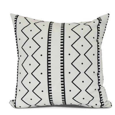 "Bungalow Rose Molly Mudcloth Geometric Throw Pillow Size: 20"" H x 20"" W, Color: Cream"