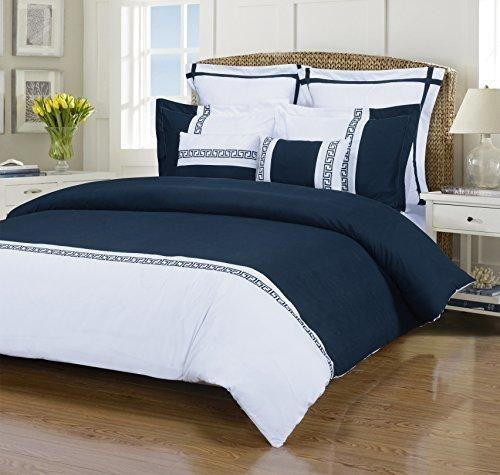 Emma 7-Piece Wrinkle Resistant King/California King Duvet Cover Set White/Navy Blue