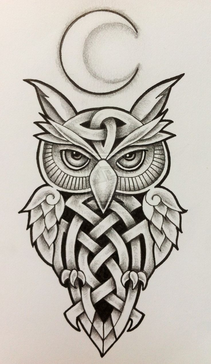 Celtic Owl and Moon by Tattoo-Design.deviantart.com on @deviantART... ive been thinking about getting an owl on my calf but I want it to look fierce but colorful. I might change my mind for this though