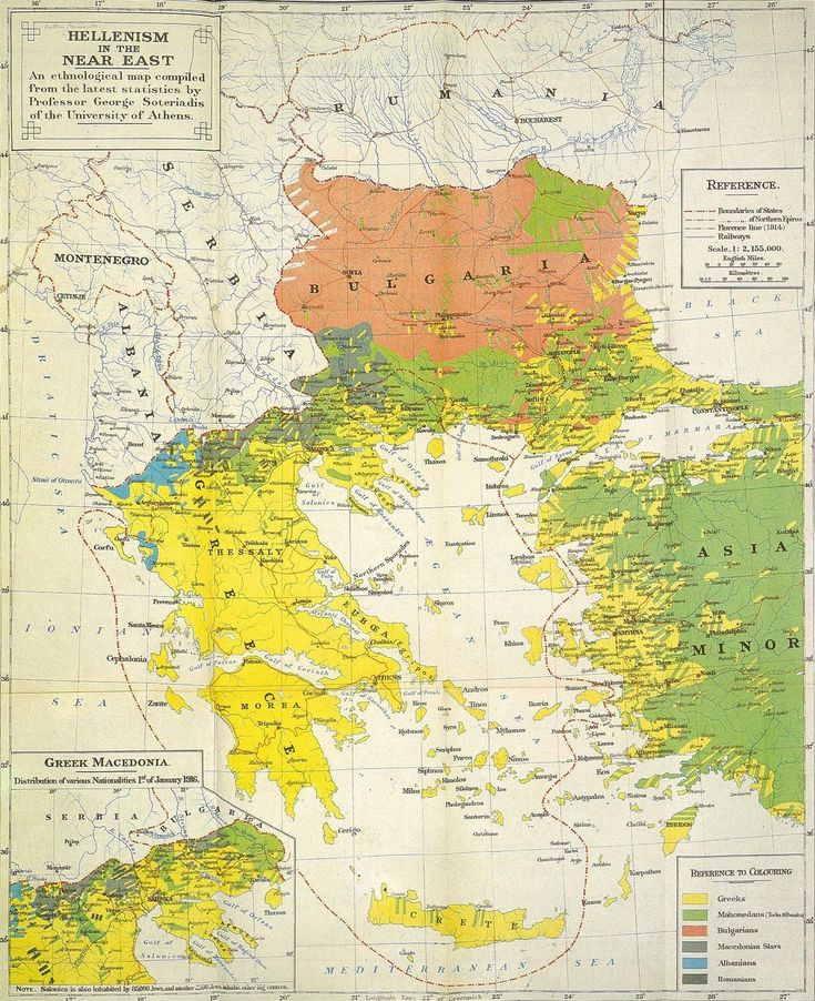 The Greek Kingdom and the Greek diaspora in the Balkans and western Asia Minor, according to Professor G. Soteiriadis, 1919