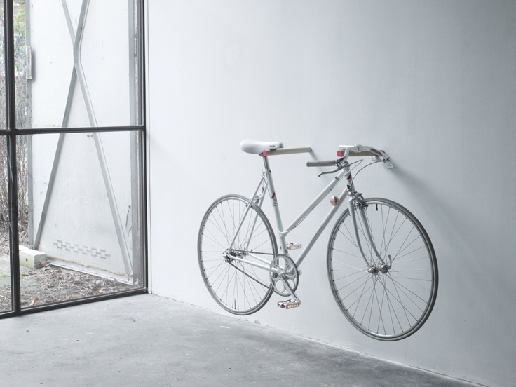 Wooden bike hook.