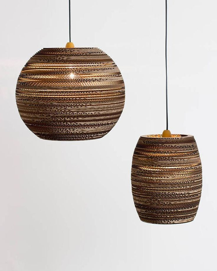 Beehive lampshade made from recycled cardboard hanging