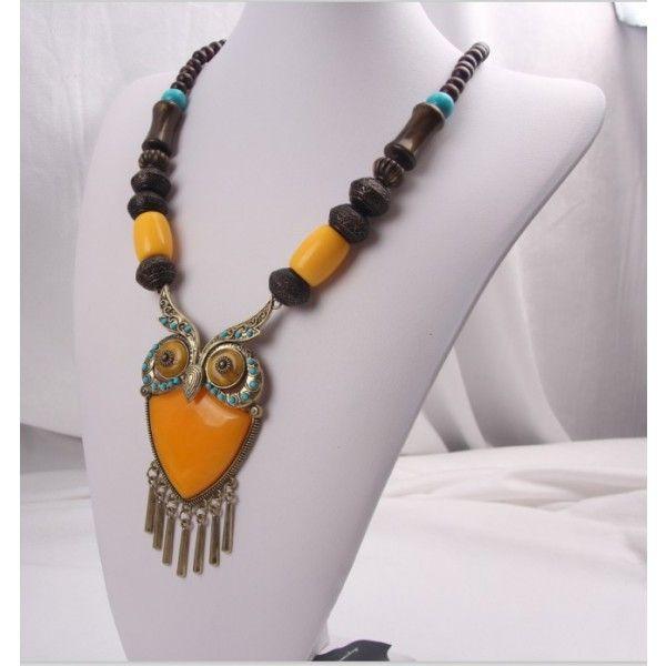 etno náhrdelník so sovou žltý 56 cm