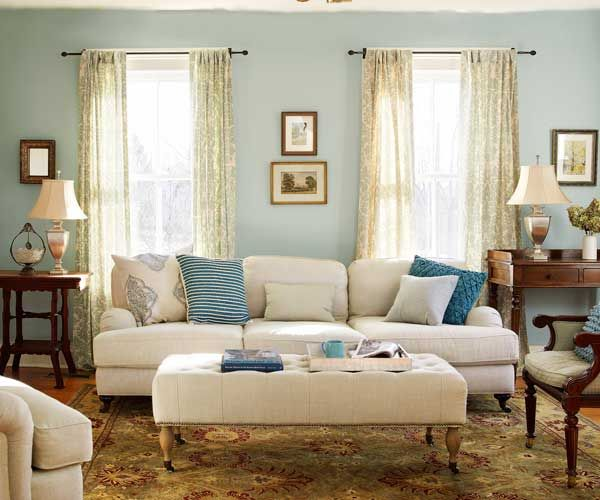 Soft colors and fabrics bring out the warm wood tones of the vintage furniture and original pine flooring of this farmhouse living room. | Photo: Tria Giovan | thisoldhouse.com: Wall Colors, Modern Farmhouse, This Old Houses, Rooms Tours, Soft Colors, Farmhouse Living, Studios Couch, Living Rooms Layout,  Day Beds