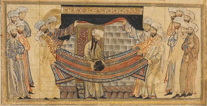Mohammed solves a dispute over lifting the black stone into position at the Kaaba. The legends tell how, when Mohammed was still a young man, the Kaaba was being rebuilt and a dispute arose between the various clans in Mecca over who had the right rededicate the black stone. (The Kaaba was at that time still a polytheistic shrine, this being many years before Islam was founded.) Mohammed resolved the argument by placing the stone on a cloth and having members of each clan lift the cloth…