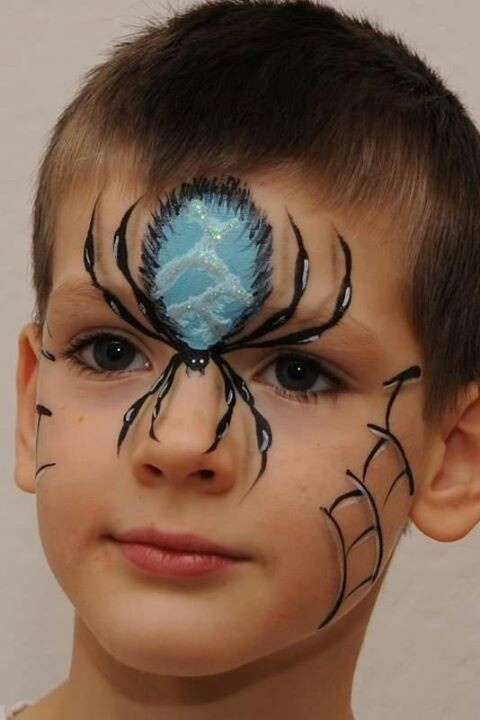 Creepy spider with webbing face painting.