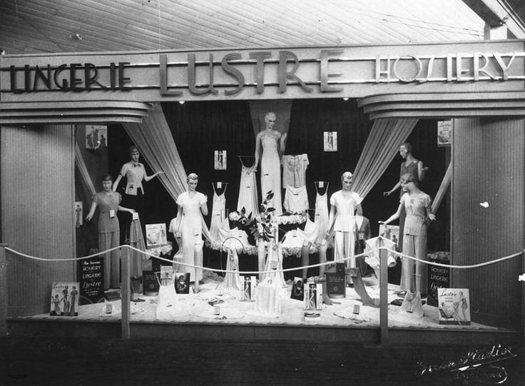 Lustre lingerie and hosiery display created by the Brisbane Window Display Service, 1937 -  Display created for the Brisbane Show, 1937, by the Brisbane Window Display Service. On display are many items of Lustre brand hosiery and lingerie. Photograph taken by The Green Studio, H. B. Green & Co., Strand Building, 130 Queen Street, Brisbane